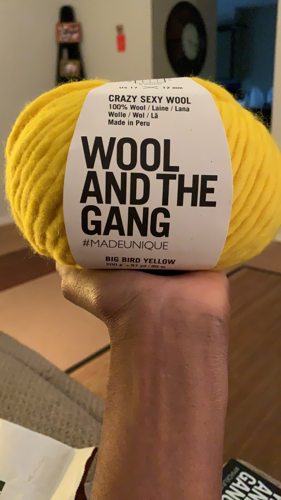 Me holding my unopened skein of Wool and the Gang's Crazy Sexy Wool in 100% Peruvian Wool in Big Bird Yellow.