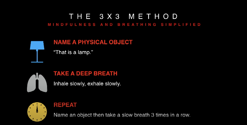 "Phil Boissiere's 2017 TEDx Talk in Naperville details the 3 x 3 method. ""Name a physical object, take a deep breath, repeat."""